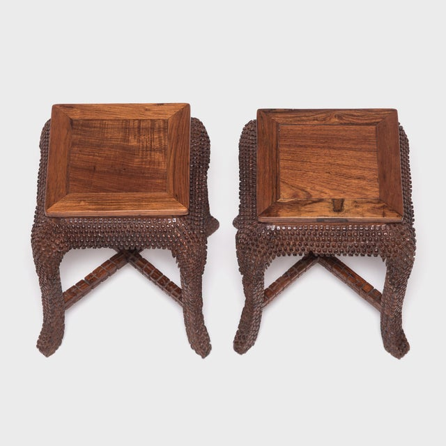 Early 20th Century Dragon Scale Tea Table and Stools For Sale - Image 10 of 11