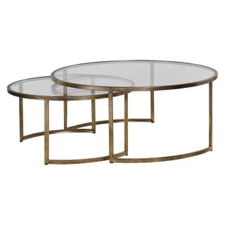 Modern Gold Leaf Nesting Tables - Set of 2 For Sale