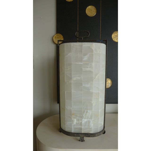 Metal Quartz and Iron Lantern Style Tall Table Lamp For Sale - Image 7 of 9