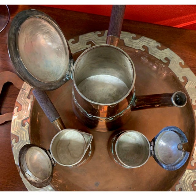 Copper Artesanias Mexico Copper & Silver Coffee Set of 4 For Sale - Image 8 of 13