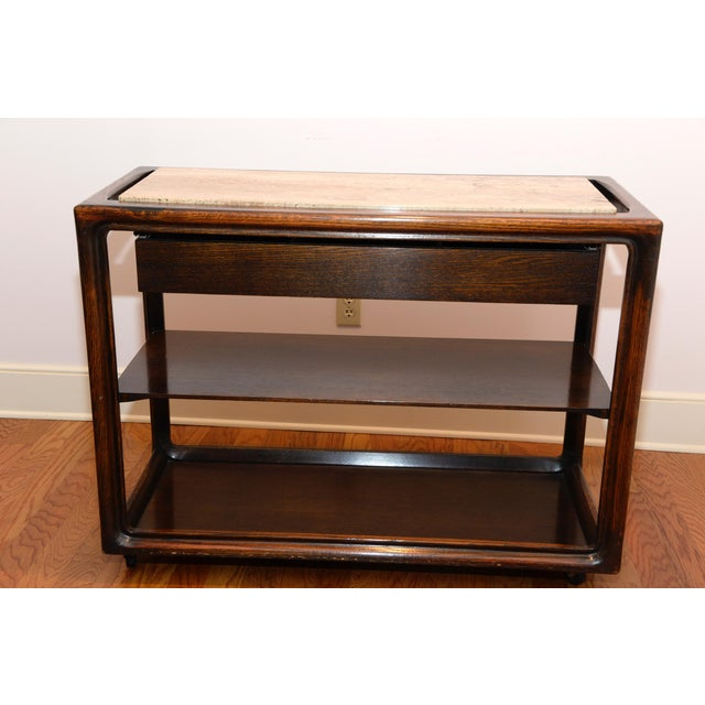 Mid-Century Modern Wood & Marble Serving Cart - Image 2 of 3