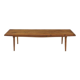 Modern Solid Oiled Slat Wood Bench For Sale