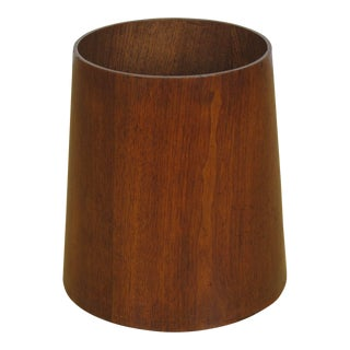 Jens Risom Walnut Wastebasket For Sale