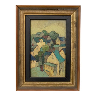Impressionist Painting French Village by Edna Gass For Sale