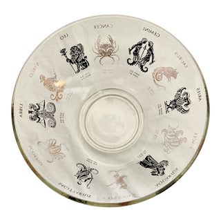 Vintage Mid-Century Anchor Hocking Clear Glass Zodiac Astrology Black and Gold Serving Chip Bowl For Sale