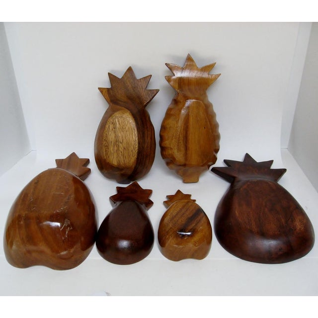 Late 20th Century Wood Pineapple Bowls - Set of 6 For Sale - Image 5 of 5