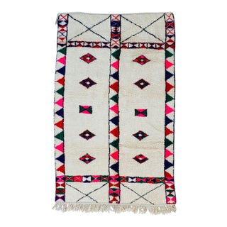 1970s Moroccan Handmade Beni Ourain Style Rug- 4′11″ × 7′7″ For Sale