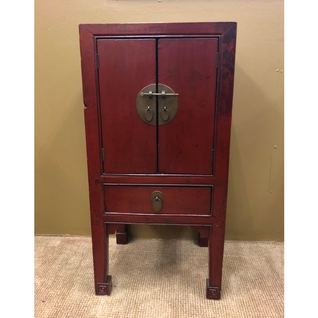 Asian Antique Chinese Red Lacquer Cabinets - a Pair For Sale - Image 3 of 8