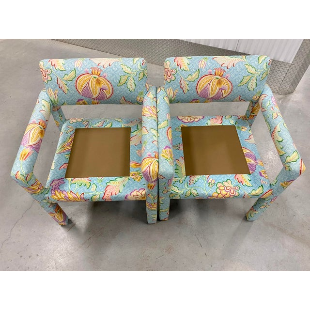 Blue Vtg Milo Baughman for Thayer Coggin Parsons Club Chairs- A For Sale - Image 8 of 10