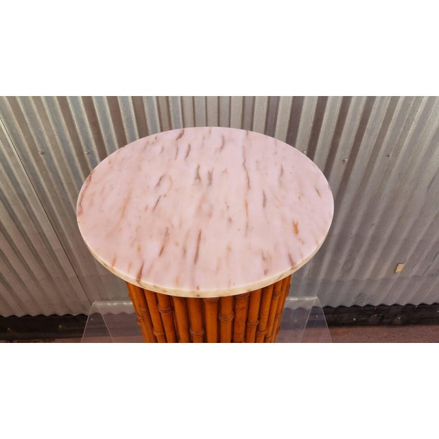 McGuire Faux Bamboo Marble Topped Cylindrical End Table For Sale - Image 4 of 6