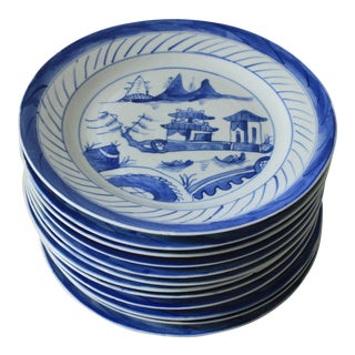 20th Century Chinoiserie Blue and White Pottery Plates - Set of 12