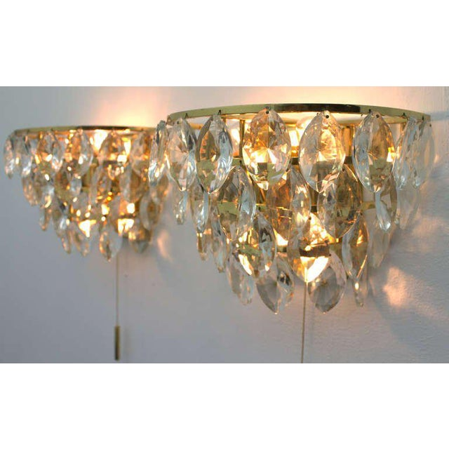 Pair of Palwa Wall Sconces, Gilded Brass and Crystal Glass, Germany 1960s For Sale - Image 4 of 6