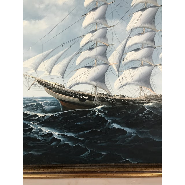 Canvas Large Sailing Ship Painting For Sale - Image 7 of 13