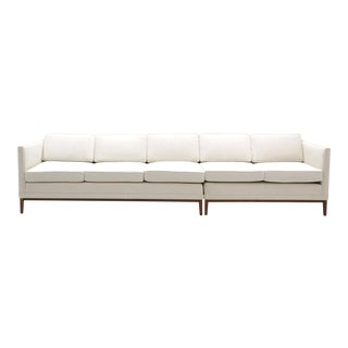 Sectional Sofa, Five-Seat, Two-Piece, Even Arm, Off White, Restored, Excellent For Sale