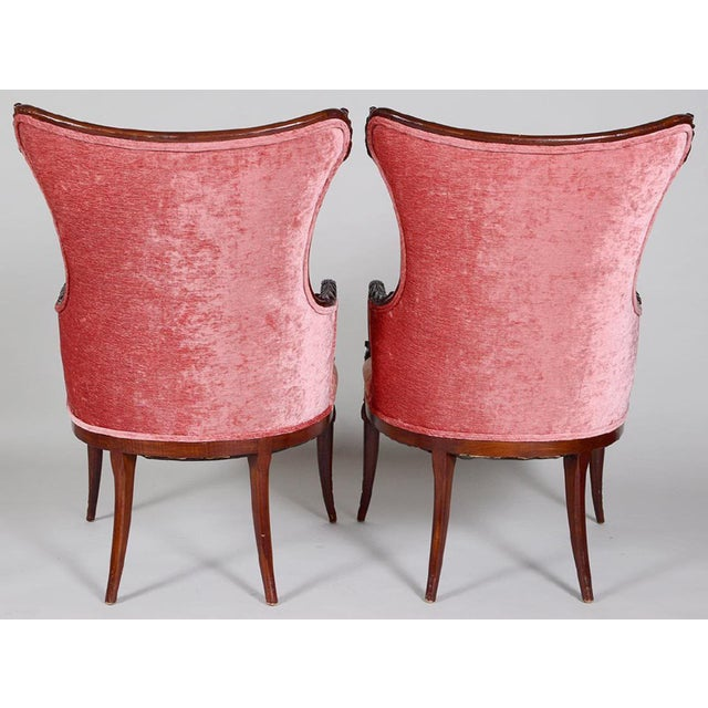 Art Deco Vintage Art Deco Style Mahogany Armchairs - a Pair For Sale - Image 3 of 4