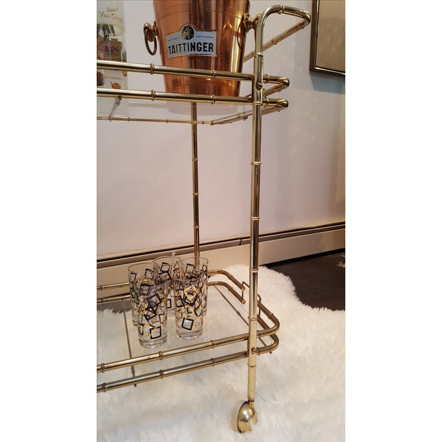 Brass Plated Mid Century Bamboo Bar Cart - Image 4 of 11