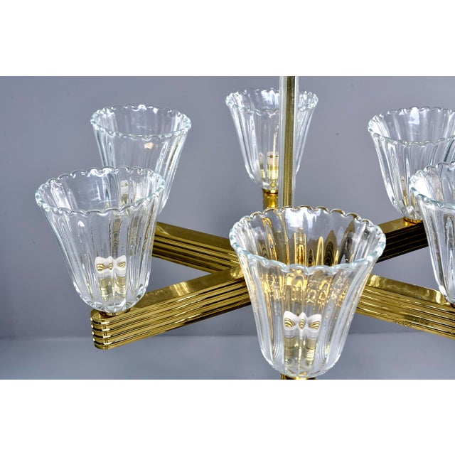 Ercole Barovier and Toso Six Light Brass Chandeliers - a Pair For Sale - Image 9 of 13