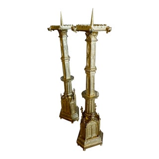 Gold-Plated Gothic Candlesticks - A Pair For Sale