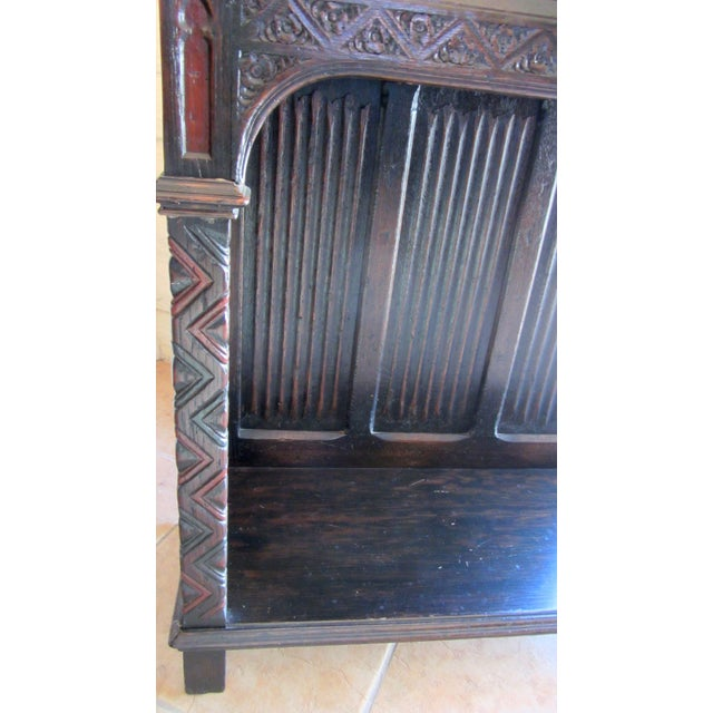 Gothic Revival Carved Oak Monastery Cabinet - Image 5 of 10