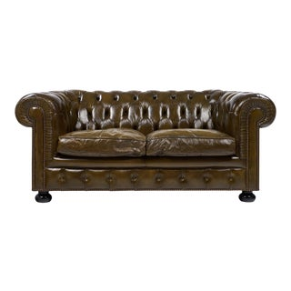 Circa 1930, Vintage English Chesterfield Leather Sofa
