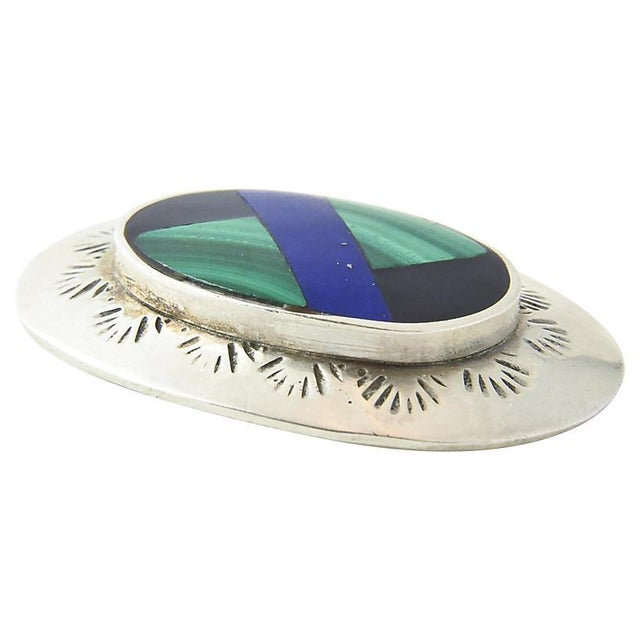 Mexican Lapis, Malachite, Onyx & Sterling Brooch For Sale In Miami - Image 6 of 7