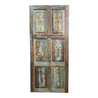 Vintage Rustic Blue Carved Door Panel For Sale