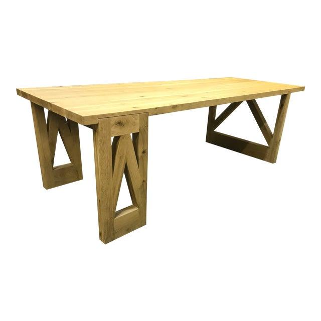 Rustic Oak Finish 8-Foot Farm Table For Sale