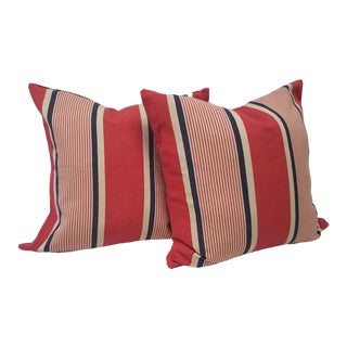Red Striped Square Pillows - A Pair For Sale