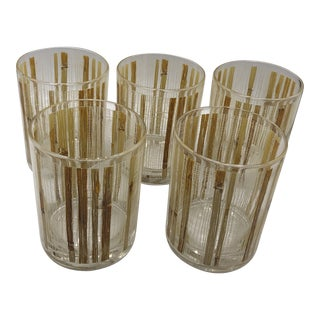 Grasscloth Embossed Glasses by Cera - Set of 5 For Sale