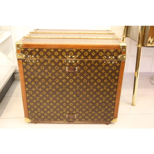1930s Louis Vuitton Monogram Steamer Trunk For Sale - Image 5 of 12