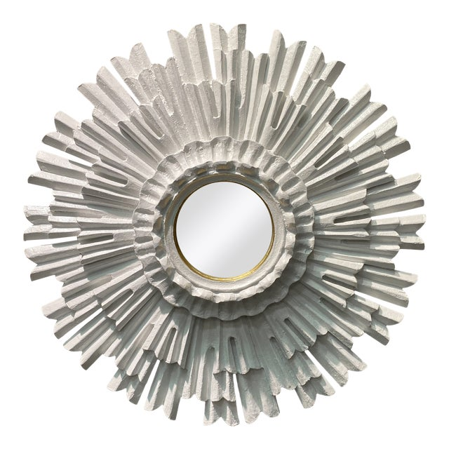 Hollywood Regency White Lacquered Sunburst Mirror For Sale