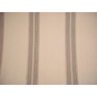 Traditional Ralph Lauren Marche Linen Stripe Nutmeg Upholstery Fabric - 14-3/4y For Sale