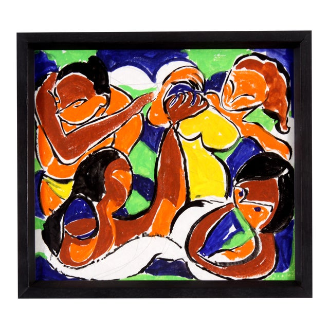 Vintage Abstract Figure Gouache Painting - Image 1 of 6