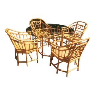 Vintage Boho Chic Bamboo Brighton Pavilion Style Dining Set - 5 Pieces For Sale