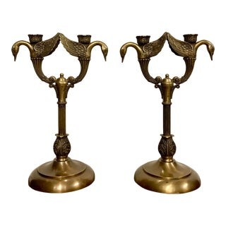 Maitland-Smith Bronze Double Arm Swan Candelabras / Candle Holders - a Pair For Sale