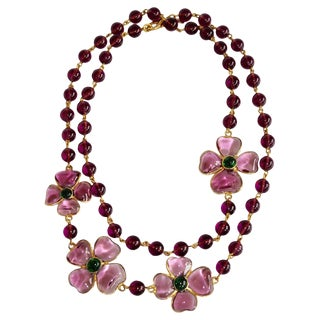 Francoise Montague Mauve Pate De Verre Glass Amalfi Necklace For Sale