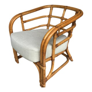 Late 20th Century Rattan Barrel Back Chair For Sale