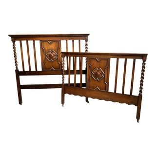 Antique Arts & Crafts English Oak Headboard Footboard - 2 Pieces For Sale