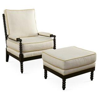 Taylor Burke Gregg Park Chair & Ottoman For Sale