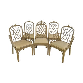 Chinese Chippendale Style Custom Set of 6 Lacquer Painted Dining Chairs For Sale