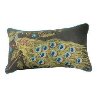 Rectangle Full Embroidered Peacock Pillow