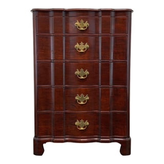 John Stuart Mahogany Serpentine Chippendale Five Drawer Chest For Sale