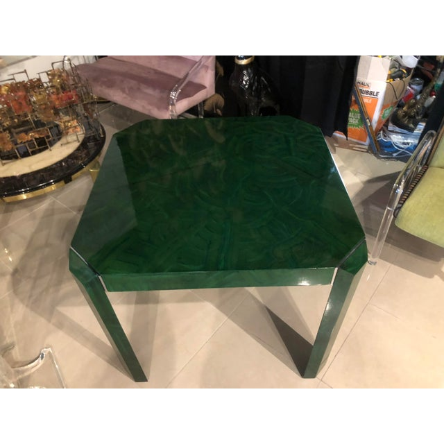 Metal Vintage Hollywood Regency Green Faux Malachite Chrome Dining Game Table For Sale - Image 7 of 11