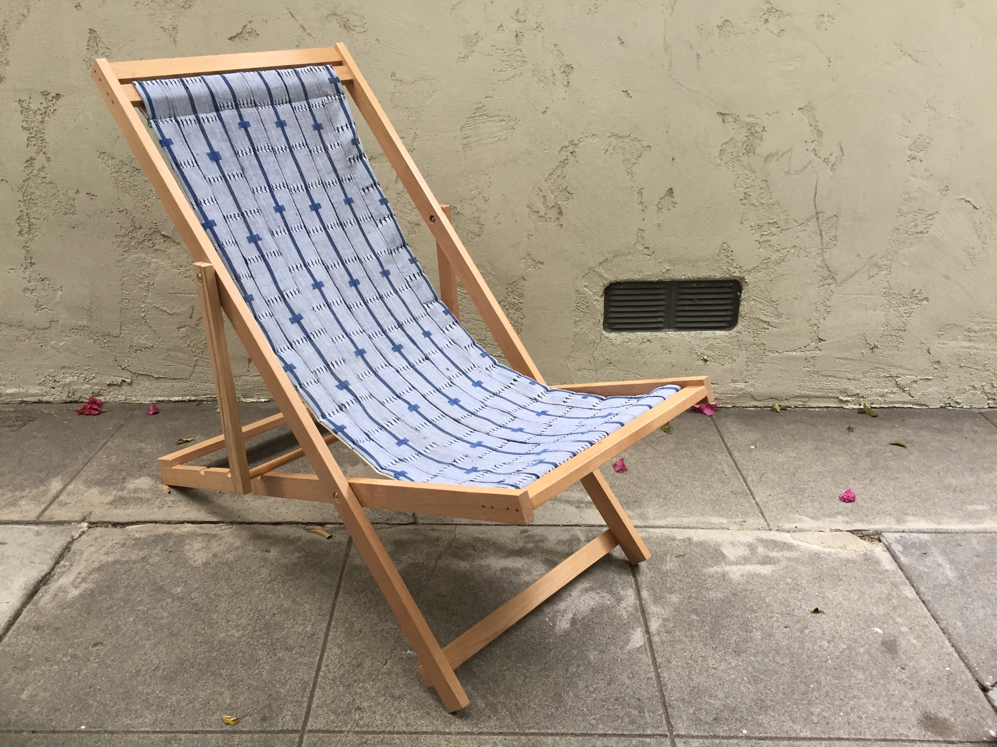 Alder Frame Folding Sling Chair. Fabric Seat Made Of Vintage African Aso  Oke Textile With