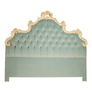 Mid 20th Century Italian Hollywood Regency Upholstered Headboard For Sale