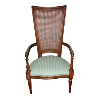 Mid-Century Modern Tall Cane Back Arm Chair For Sale