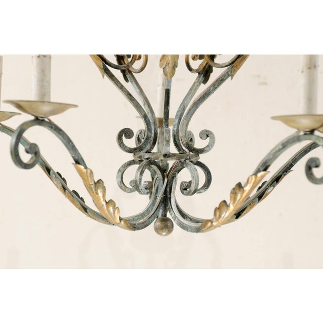 Metal French Five-Light Painted Iron Chandelier Featuring Lovely Acanthus Leaf Motifs For Sale - Image 7 of 8