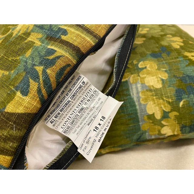 English Scenic Flora Green Trees Linen Print Pillows - a Pair For Sale - Image 3 of 6