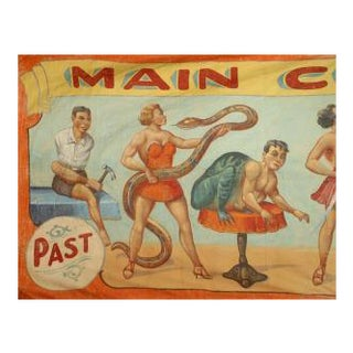 Carnival Painted Side Show Circus Banner of Several Exotic Figures For Sale
