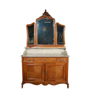 Marble Top Commode with Mirrors For Sale